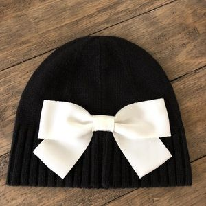 Kate Spade New York Bow Sweater Beanie Hat Black